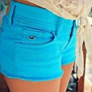 Hollister Bright Blue Short Shorts Jean Shorts
